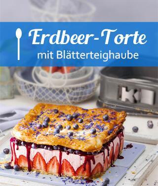 Sommer-Erdbeer-Torte mit Streuselboden und Blätterteighaube