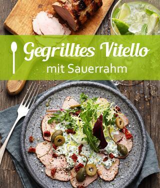 Gegrilltes Vitello mit Sauerrahm und Wildkräutersalat