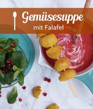 Gemüsesuppe mit Falafel