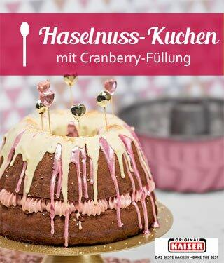 Haselnuss-Kuchen mit Cranberry-Ganache-Füllung