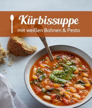 Kürbissuppe mit weißen Bohnen und Pesto