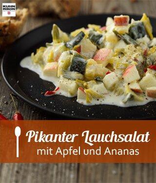 Pikanter Lauchsalat mit Apfel und Ananas