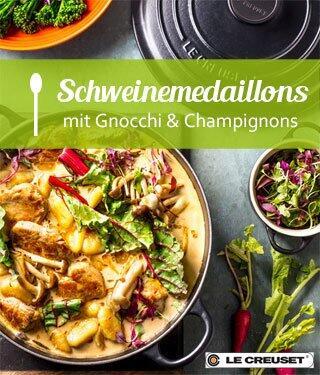 Geschmortes Schweinefilet mit Champignons, Mangold & Gnocchi