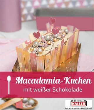 Macadamia-Kuchen mit weißer Schokolade