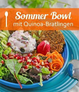Summer Bowl mit Quinoa-Bratlingen