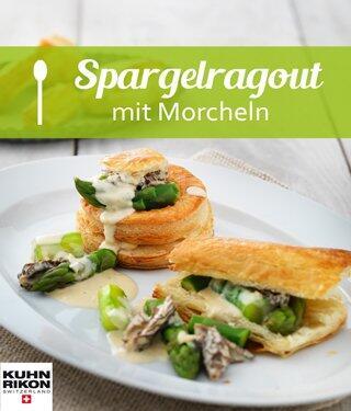 Grüner Spargel mit Morcheln in Blätterteigpastetchen