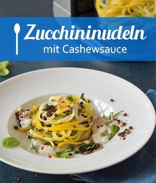 Zucchininudeln mit Linsen-Cashewsauce