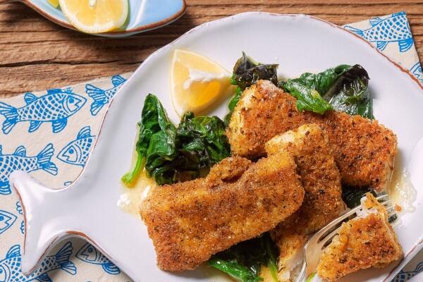 Fischstäbchen mit Spinat