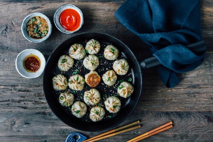 Dumplings mit Garnelen-Mango-Füllung