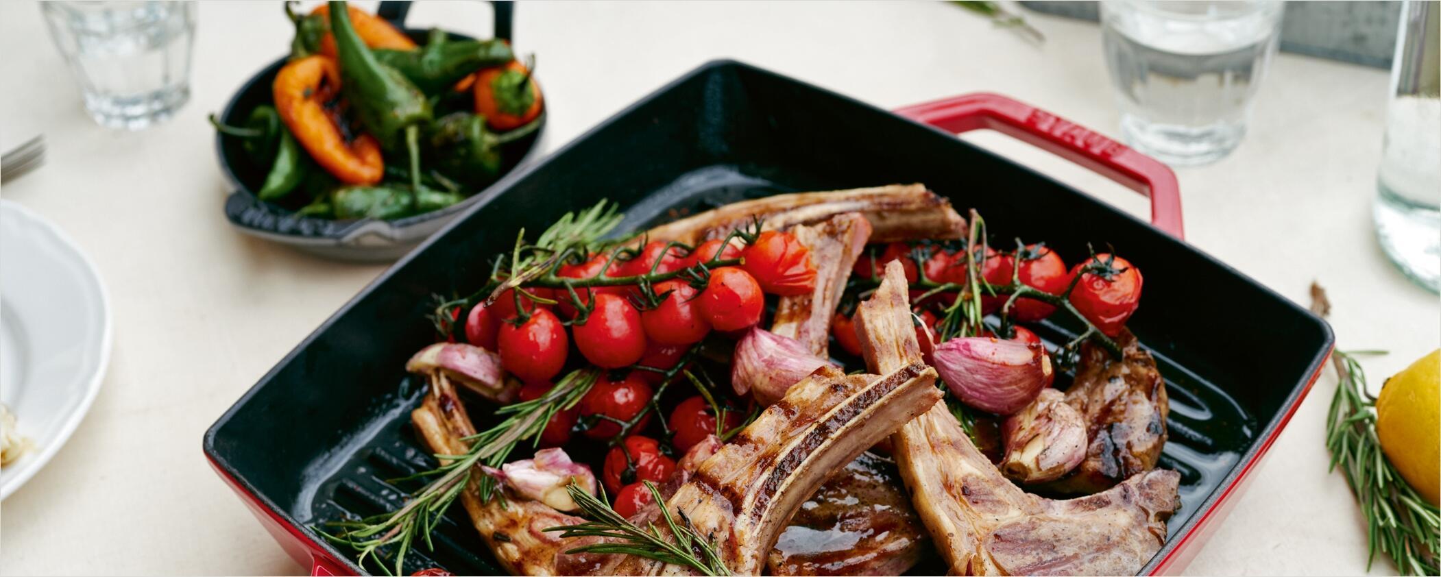 Staub Grillpfannen - Knusprig & fettarm braten mit Grillstreifen